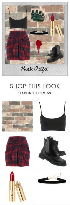 """Punk Outfit"" by catthepunisher ❤ liked on Polyvore featuring Wall Pops!, Polaroid, River Island, Dr. Martens and OPI"