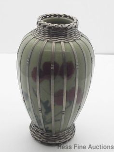 Antique Asian Woven Silver Metal Overlay Porcelain Bud Vase