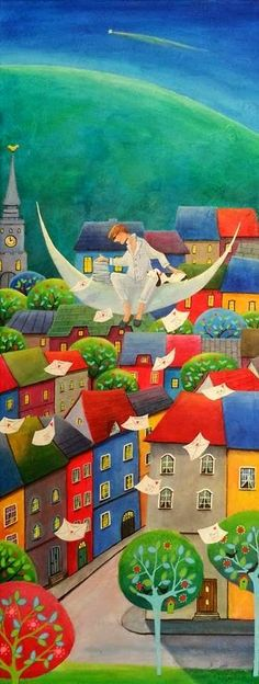 Paintings and illustrations by Iwona Lifsches. Art presentation and sale of original paintings and other art products. Illustration Art, Illustrations, Art Gallery, Fairytale Art, Arte Popular, Colorful Paintings, Naive Art, Moon Art, Figurative Art