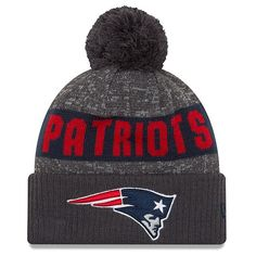 2203a6a93c291 The New Era 2016 Sport Knit-Gray Navy is a great way to show your team  pride during the cold months of the season. The New England Patriots team  name and ...