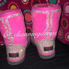 Ugg boots Hand crystallized ugg boots , they are gently worn . Size 6 but fits like a 7 . UGG Shoes Ankle Boots & Booties