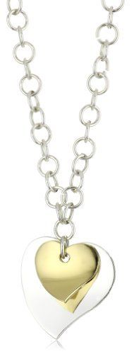 "Argento Vivo Sterling Silver Double Heart Necklace Argento Vivo. $42.99. 18"" rolo chain with lobster claw Made in MX. Made in Mexico. Silver and 18k gold plated. 18"" rolo chain with lobster claw. Save 64%!"