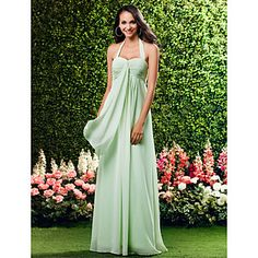 Sheath/ Column Halter Floor-Length Chiffon Over Mading Bridesmaid/ Wedding Party Dress – USD $ 99.99