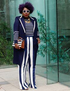 plus size style fashion week outfit stripes plus size stripes plus size street style 01