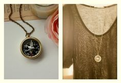 A Flying Swallow, Vintage Brass Compass Long Necklace
