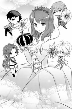 "The characters Subaru, Yusuke, Natsume, Louis, and Ema - from the series ""Brothers Conflict."" >> I really like the princess outfit and crown which Ema is wearing in this one. :)"