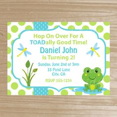 Frog Invitation Printable Birthday Froggy For Boys Digital File