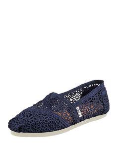 Love the Toms Crochet Slip-On, Navy on Wantering.