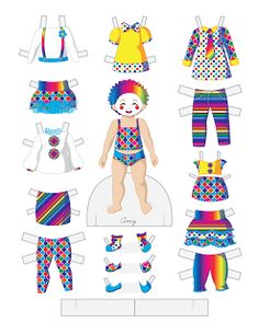 Paper dolls by Julie Allen Matthews. A toddler clown paper doll for April Fool's Day. Doll Crafts, Diy Doll, Paper Toys, Paper Crafts, Paper Dolls Printable, Vintage Paper Dolls, Toddler Fashion, Doll Patterns, Beautiful Dolls