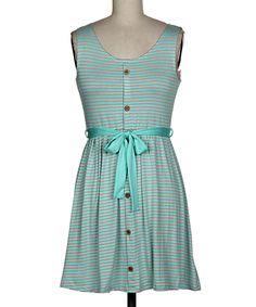 Teal Stripe Dress