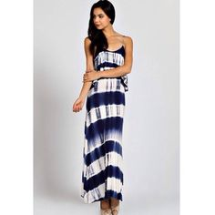"""Escape"" Tie Dye Maxi Dress Tie dye panel maxi dress with a self tie back. True to size. Bare Anthology Dresses Maxi"
