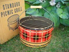 Vintage UNUSED Red Plaid Picnic GRILL Standard Can Skotch Orig. Box Barbecue | eBay