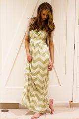 Sleeveless Banded High Waist Chevron Maxi Dress