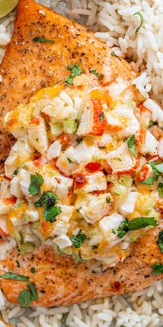 An easy recipe for Crab Stuffed Salmon! Juicy salmon fillet loaded with a cheesy crab filling. This is the ultimate stuffed salmon recipe! Supper Recipes, Entree Recipes, Top Recipes, Family Recipes, Salmon Recipes, Fish Recipes, Drink Recipes, Seafood Recipes, Family Meals