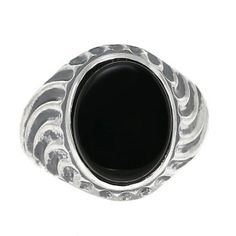Gemologica Oval-Cut Black Onyx Men's Sterling Silver Waves Antiqued Ring - This bold men's black onyx ring is sure to impress. A 14 X oval cut genuine black onyx gemstone Mens Gemstone Rings, Holiday Jewelry, Jewelry Gifts, Fine Jewelry, Black Onyx Ring, Chains For Men, Antique Rings, Men Necklace, Statement Jewelry