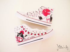 Studio Ghibli hand painted shoes series / Miyazaki shoes / Totoro shoes / Japanese shoes (2) - High top