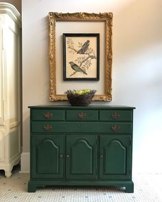 A tired and well worn maple buffet was transformed with Chalk Paint® in Amsterdam Green. Annie Sloan Stockist Edwin Loy Home in Delaware and Westerville, OH, chose to highlight the handles in Honfleur for a subtle contrast, and finished it with Clear Chalk Paint® Wax for a fresh and updated look.