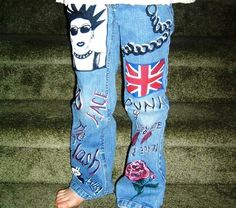 The Brits are Coming! Hand-painted punk-style denim jeans by 4getmeknot. Check them out at www.4getmeknot.etsy.com