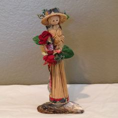 Vintage Handcrafted Bamboo Asian Lady Figure on by KMSCollectibles