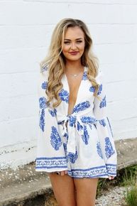 Blue and White printed romper with tow front Amour Boutique