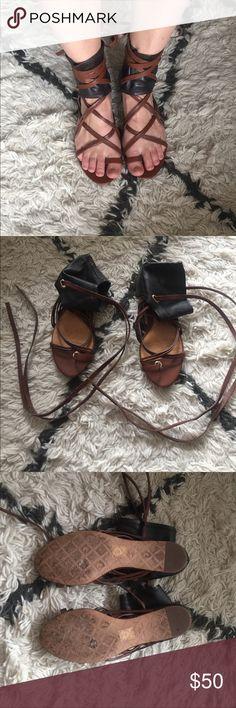 LAMB crusader Sandals Leather black and brown tie up sandals by LAMB. Only worn a handful of times. Leather is in great condition L.A.M.B. Shoes Sandals