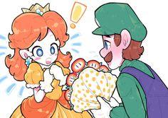 It worked / New Old School Super Smash Bros, Super Mario Bros, Princesa Daisy, Mario Y Luigi, Luigi And Daisy, Mario Fan Art, Nintendo Princess, Daisy Art, Big Kiss