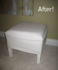Thinking I might try this DIY transformation of an Ikea Lack table into a cushy ottoman. I have two just stacked in storage, might as well.