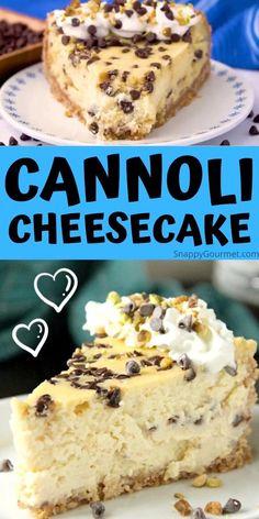 Cannoli Cheesecake Recipe, Chocolate Cheesecake Recipes, Homemade Cheesecake, Easy Cheesecake Recipes, Easy No Bake Desserts, Best Dessert Recipes, Italian Cheesecake, Easy Desserts, Sweet Recipes