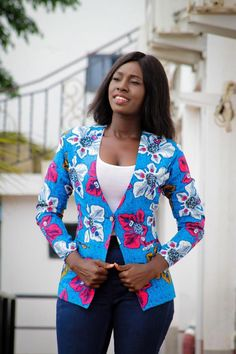 DESCRIPTION: This V-neck African Print Blazer single button women's blazer can be styled with a plain shirt and cool jeans for a minimalist look or pair it with African Fashion Ankara, African Fashion Designers, African Inspired Fashion, African Print Fashion, Africa Fashion, African Attire, African Wear, African Style, Blazers For Women