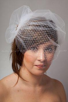 Bridal Veil Set Double Layer Bandeau by brendasbridalveils on Etsy, $74.95