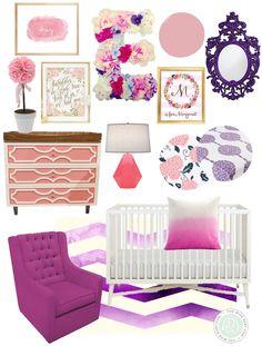 pink and purple spring inspired nursery, spring nursery, floral nursery,