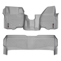 """WeatherTech 463291-463052 Series Grey Front and Rear FloorLiner Over the Hump - FloorLiner(TM) In the quest for the most advanced concept in floor protection, the talented designers and engineers at WeatherTech(R) have worked tirelessly to develop the most advanced floor protection available today! The WeatherTech(R) FloorLiner(TM) accurately and completely lines the interior carpet giving """"absolute interior protection(TM)""""! The WeatherTech(R) FloorLiner(TM) lines the interior carpet up the…"""