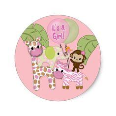 Girl Jungle Safari Baby Shower Round Sticker