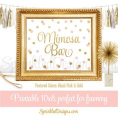 Mimosa Bar Party Sign - Blush Pink and Gold Glitter Baby or Bridal Shower Decorations - Birthday Party - Printable 8x10 Table Sign by SprinkledDesigns.com