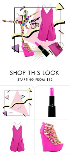 """""""Bright Pink Lipstick"""" by kari-c ❤ liked on Polyvore featuring beauty, Armani Beauty, Topshop, Nelly Bernal, Fendi and pinklips"""