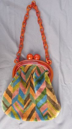 Vintage chenille purse with Bakelite or plastic handles