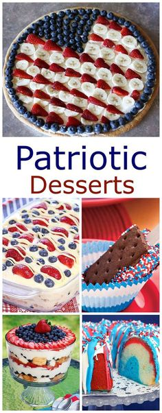 And Easy of July Desserts A collection of fun, festive and EASY patriotic desserts for your summer get togethers, picnics and parties!A collection of fun, festive and EASY patriotic desserts for your summer get togethers, picnics and parties! Patriotic Desserts, 4th Of July Desserts, Fourth Of July Food, Birthday Desserts, 4th Of July Party, Holiday Desserts, Holiday Baking, Holiday Treats, Just Desserts