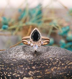 Black Onyx engagement ring women vintage pear shaped halo moissanite unique Wedding Ring set Jewelry art deco Anniversary gift for her Onyx Engagement Ring, Alexandrite Engagement Ring, Engagement Ring Settings, Vintage Engagement Rings, Vintage Rings, Unique Vintage, Wedding Ring Sets Unique, Curved Wedding Band, Wedding Rings
