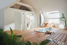 Attic Master Bedroom, Attic Rooms, Bedroom Loft, Sauna Design, Live In Style, Attic Storage, Dream Bathrooms, Basement Remodeling, Architecture Design