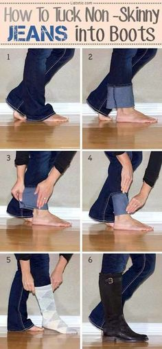 How to Tuck Non Skinny Jeans into Boots