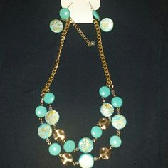 CLEARANCE!!! Brand New Turquoise/Gold Necklace Set Beautiful turquoise and gold necklace set. Perfect for spring and summer wear. No damages. In perfect condition. No trades. Charming Charlie Jewelry