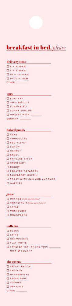 breakfast-in-bed menu