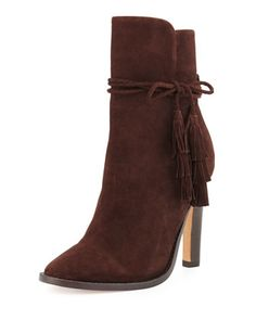 Chap+Suede+Tassel+Bootie,+Mahogany+by+Joie+at+Neiman+Marcus.