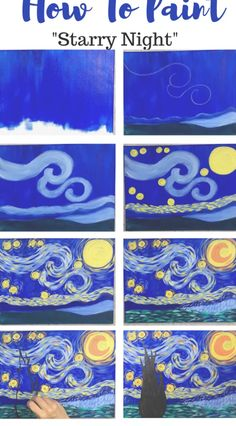 This is a simplified, easy version of the famous Starry Night by Vincent Van Gogh. Learn how to paint this with simple step by step directions. Great for kids and the absolute beginner acrylic painter! Arte Van Gogh, Van Gogh Art, Small Canvas Art, Mini Canvas Art, Simple Canvas Paintings, Kids Paint Night, Desenhos Van Gogh, Van Gogh For Kids, Van Gogh Pinturas