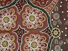 australian aborigine pattern on fabric 'womens business'