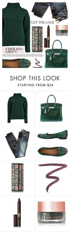 """Emerald City: Pops of Green"" by crochetragrug ❤ liked on Polyvore featuring Lowie, Hermès, Marc by Marc Jacobs, PANTANETTI, Lipstick Queen, Charlotte Tilbury and Illamasqua"