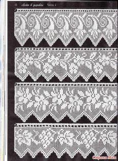 Duplet 138 Four beautiful filet crochet lace edgings with floral motifs. Crochet Lace Edging, Crochet Motifs, Crochet Borders, Crochet Trim, Thread Crochet, Crochet Doilies, Crochet Stitches, Crochet Patterns, Cloth Patterns