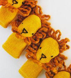 Organic Cotton Finger Puppet Orange Lion Toy