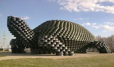 Dunseith, North Dakota: The 18-foot-tall tortoise was built from 2,000 old wheel rims