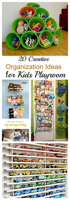 20 Creative Organization Ideas for Kids Playroom is part of Kids Crafts Organization Ideas 1 Park toy cars on a magnetic rack Tutorial via keeping up with the souths 2 Lego and small toy storage ba - Storing Stuffed Animals, Toy Storage Bags, Storage Ideas, Storage Racks, Car Storage, Kids Room Organization, Organizing Ideas, Ideas Para Organizar, Toy Rooms
